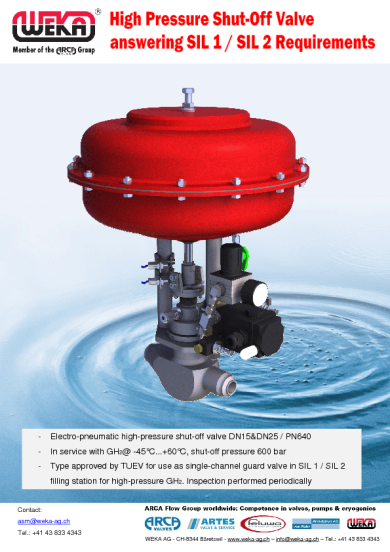 High Pressure Shut-Off Valve answering SIL 1 / SIL 2 requirements